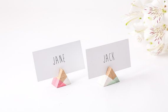 Rustic Place or business card holder SET of 30 for your wedding or any theme party GEOMETRY salvaged wood