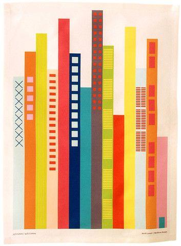 """Cityscape Tea Towel // Avril Loreti for Leif  Oui, loin dans l'abstraction et la simplification. Motif qui marche visuellement. Jeu uniquement de barres? Abandonner la notion de perspective dans ce cas. Quelles couleurs? Univers de nuit et de fête. """"intense, bigarré, extravagant"""" peut se permettre des couleurs plus improbables et vives. Fluo? Sérigraphie. Insouciance, improvisation, ville des jeunes."""
