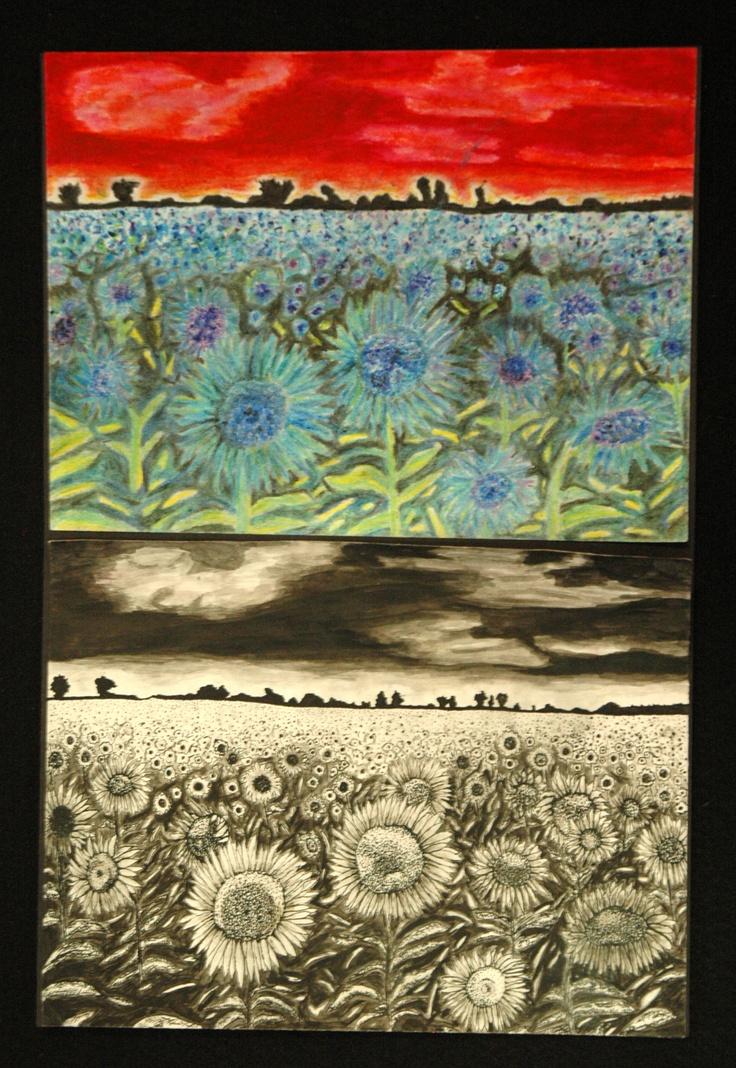 348 best art 1 project ideas images on pinterest art for Landscape art projects