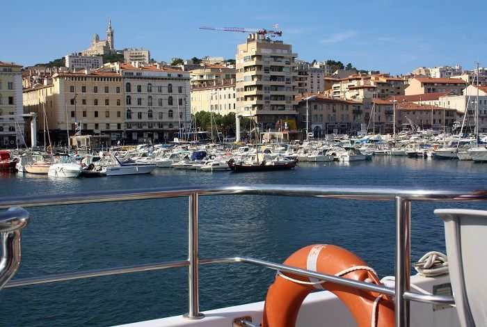 View of the Old Port in Marseille from a cruise boat