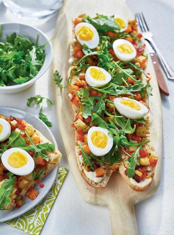 Recette de sandwich ouvert aux légumes et aux œufs de Ricardo.