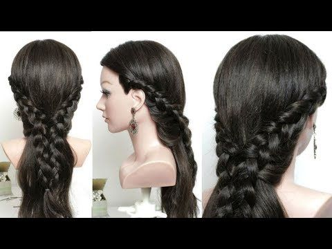 Half Up Half Down Hairstyle For Long Hair With Braids Youtube Down Hairstyles Long Hair Styles Half Up Hair