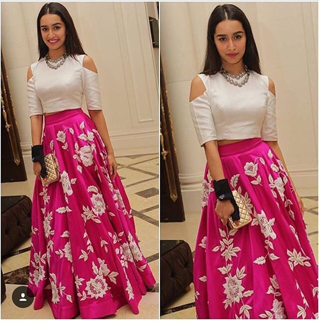 Pink and white floral lehenga with cut out shoulders