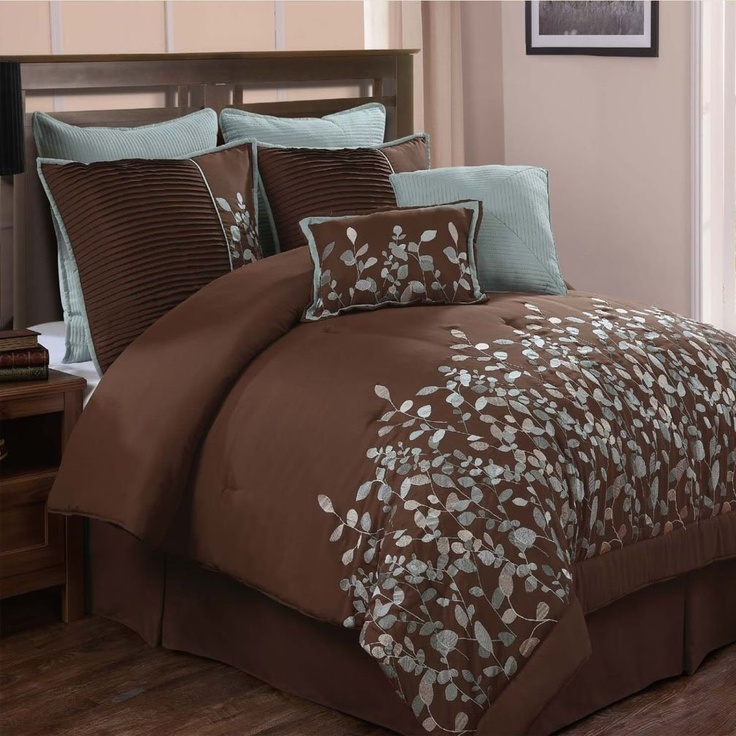 Amazon.com: Embroidered Leaves 8-piece Chocolate Brown Comforter Set, Queen: Bedding & Bath