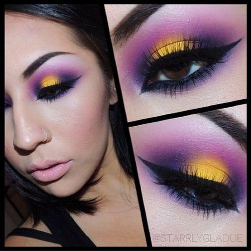 mustard yellow and plum purple eyeshadow make up. Black Bedroom Furniture Sets. Home Design Ideas