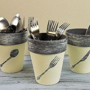 Utensil Terra Cotta Pots -- Stash flatware stylishly in terra cotta pots. #decoartprojects: