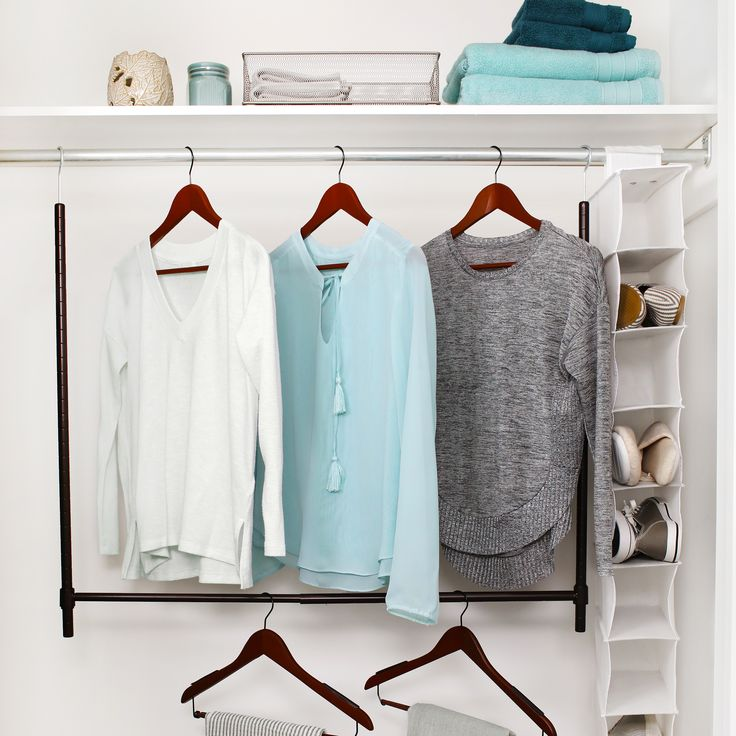 Discover more closet space with an Expandable Closet Rod. https://www.tidyliving.com/expandable-closet-rod.html #TidyLiving #Hangers #Closet #SpaceSaver