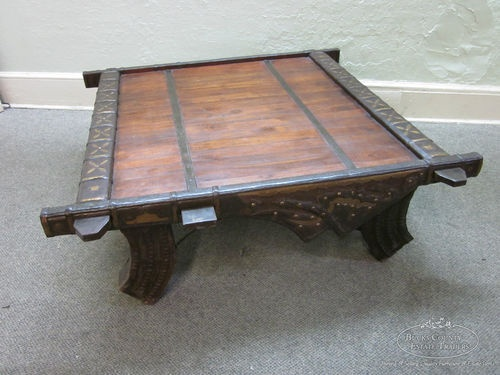 Unusual Heavy Wood Iron Middle Eastern Style Large Coffee Table | eBay