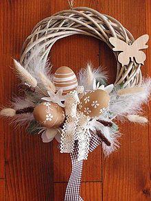Dekorácie - Vintage veľkonočný veniec s vajíčkami