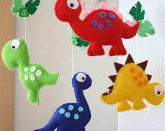 Dinosauro feltro Mobile  babys multicolore mobile  di FlossyTots