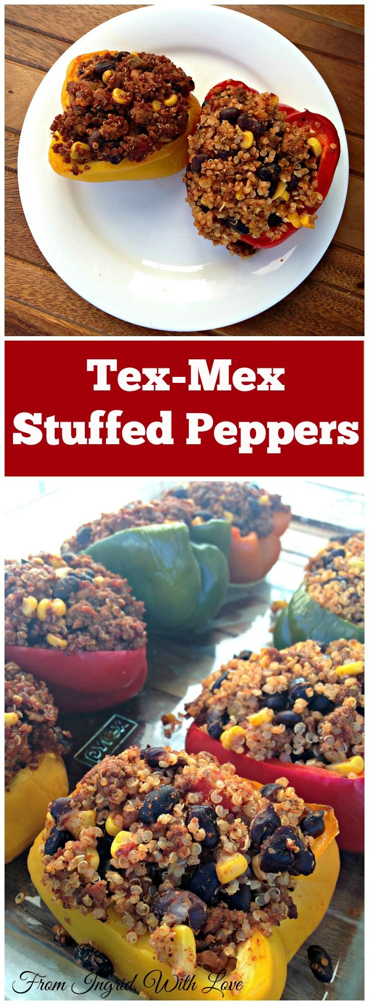 Tex-Mex Stuffed Peppers with all the bright and bold Southwestern flavors you love, packed with nutritious ingredients for an indulgent, but lean dinner. | From Ingrid, With Love