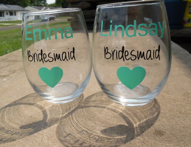 Bridesmaid  Wine Glasses, Bridal Party Wine Glasses, Custom Wedding Party Wine…