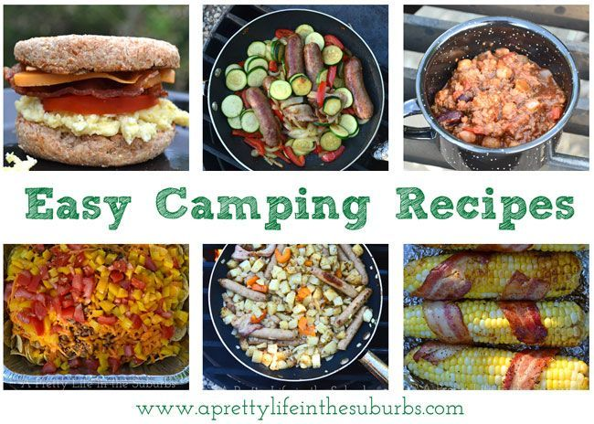 Easy Camping Recipes .... breakfast sandwiches, chili, skillet meals and even bacon-wrapped corn-on-the-cob!