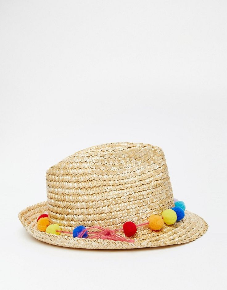Catarzi Straw Hat with Pom Pom Trim