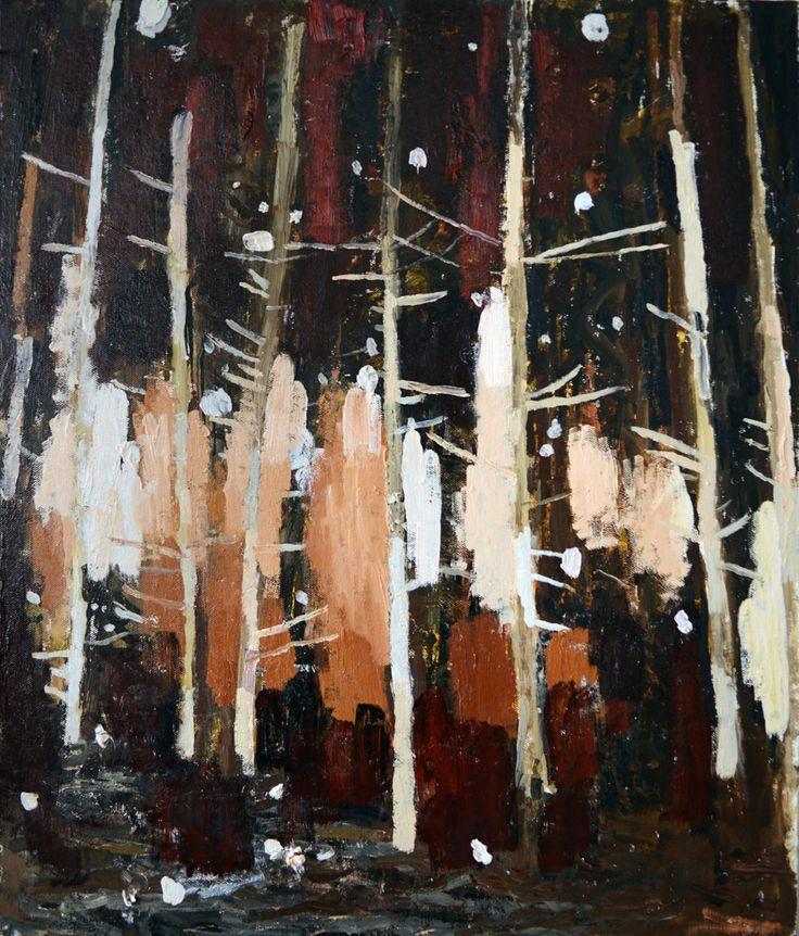 Bogdan Vladuta, Forest (white), 2013 oil on canvas mounted on board 23.6 x 19.7 in (60 x 50 cm)