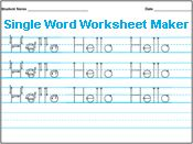 Handwriting Worksheet Maker - you can type in any word(s) you like and it becomes a writing practice sheet. E asked for one with his name today, so I found this. :)