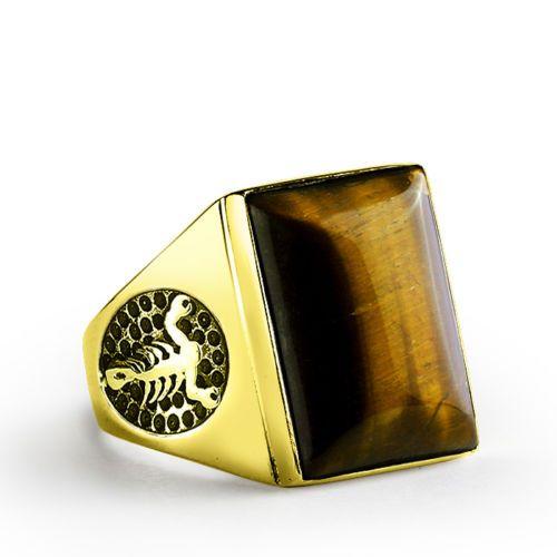 Scorpion Mens Ring 10K SOLID GOLD Brown Tigers Eye Gemstone Signet Ring for Men #silverring #fashion #diamond #vintagejewelry #mensring #ebay #vintage #unisex #sterlingring #mensjewelry #mensfashion #epiconetsy #menstyle #giftforhim