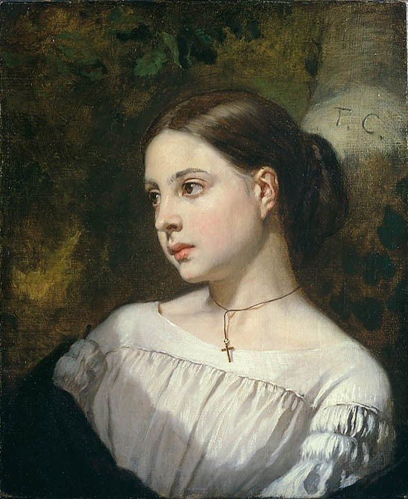 "Painting of the Day! Thomas Couture (1815-1879) ""Portrait of a Girl"" Oil on canvas. - To see more works by this artist please visit us at: http://www.artrenewal.org/pages/artist.php?artistid=752"