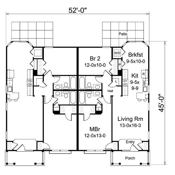 Ranch Traditional Multi Family Plan 95863 Ranch Duplex