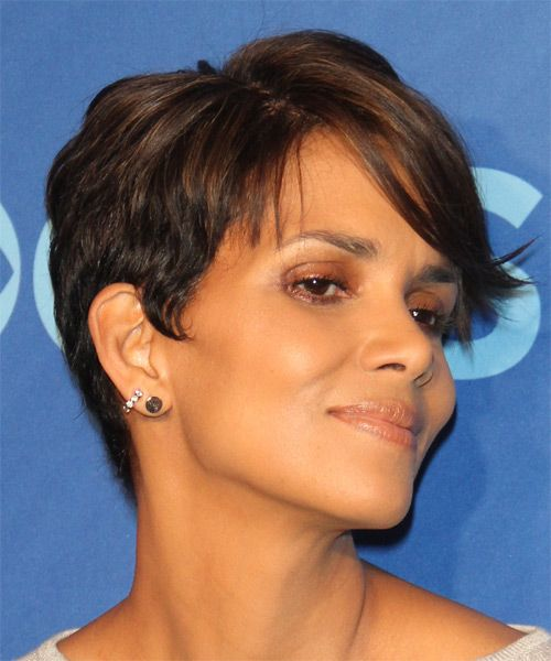 Halle Berry Hairstyle - Short Straight Casual - Medium Brunette