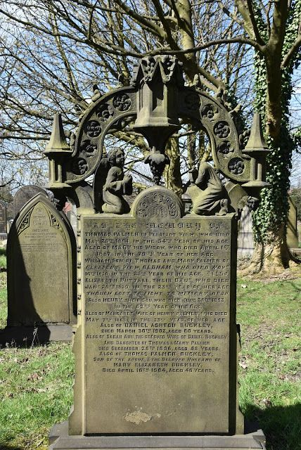 When making my first visit to Chadderton Cemetery in Oldham, I came across this very ornate grave marker. It commemorates Thomas Palmer who died May 25, 1864 in the 54th year of his age and his wife and children. The only reference I could find to him was a Census Return of 1851 when his occupation is listed as Mechanic and a report of his burial in the Bury Times: