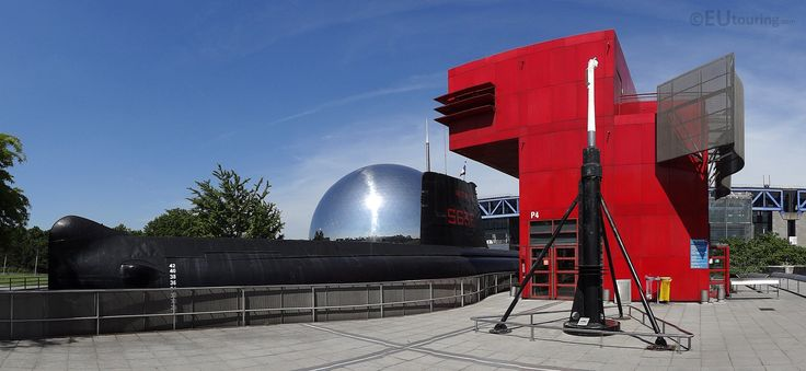 In this photo you can see the Argonaute Submarine, showing just how large it is, along with the red information and ticket office and the large dome in the background which is better known as The Geode.  You may also like www.eutouring.com/images_argonaute_submarine.html