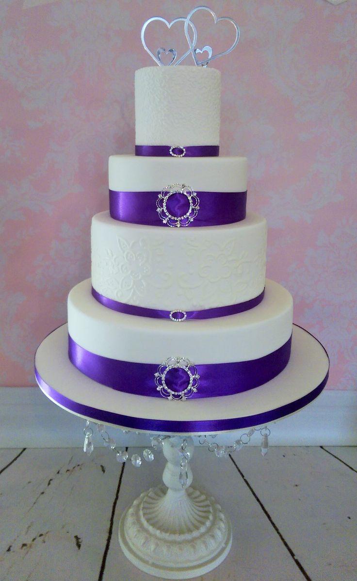 White Amp Cadbury Purple Wedding Cake