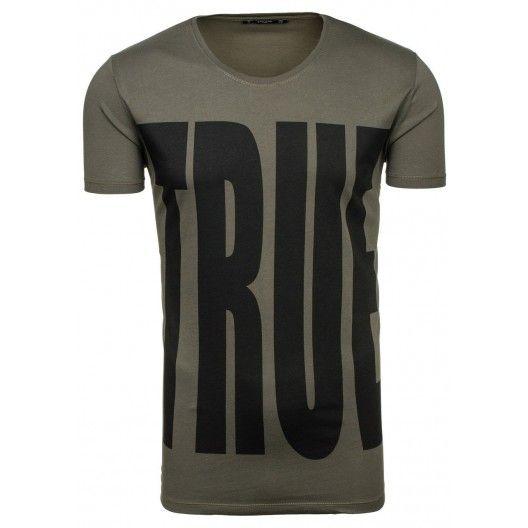 TRUE pánske tričko v tmavozelenej farbe - fashionday.eu