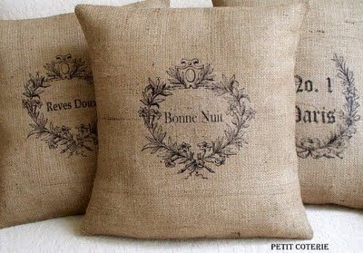 BurlapPillows Covers, Ideas, Burlap Christmas, Little Gift, Shabby Chic, Image Transfer, Burlap Pillows, French Country, Throw Pillows