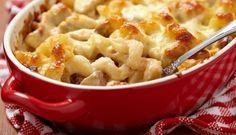 Mac-n-cheese-de-lekkerste-macaroni-met-ham-en-kaas Mac 'n Cheese (De lekkerste macaroni met ham en kaas)      Amerikaans Hoofdgerecht      10-20 min.     Geplaatst op 28-07-2015  INGREDIENTEN 4 personen  300-400 gram macaroni 200 gram schouderham (in plakken) 1 zakje geraste kaas (belegen of jong belegen) 1 zakje mix voor kaassaus 3 grote eetlepels crème fraîche (ongeveer een half bakje) bosje peterselie Eventueel zout & peper