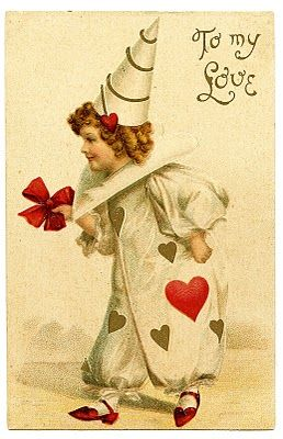 Vintage Valentine's Day Clip Art - Darling Clown Girl - The Graphics Fairy