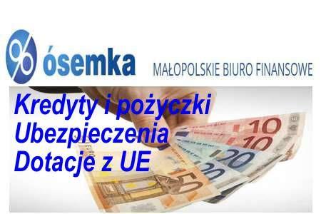 ÓSEMKA Małopolskie Biuro Finansowe pośredniczy w zawieraniu umów kredytowych, pożyczkowych, leasingowych i ubezpieczeniowych w imieniu oraz z upoważnienia wielu instytucji finansowych, takich jak: Banki, Firmy Leasingowe, Towarzystwa Ubezpieczeniowe oraz wiarygodnych instytucji pożyczkowych, nie będących bankami. http://ecpb.pl/company/osemka-malopolskie-biuro-finansowe-aneta-cygan/