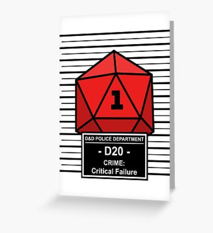 D20 arrested for Critical Failure! #redbubble #dnd #dungeonsandragons #rpg #nerd #d20 #fail #funny