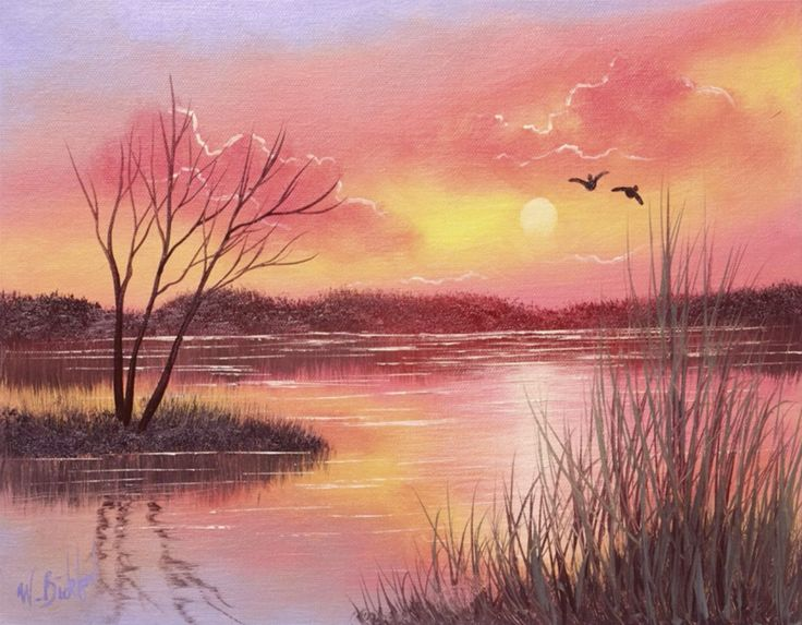 Paint serene sunsets using just 4 colors, including white! #paintingsunsets #landscapepainting