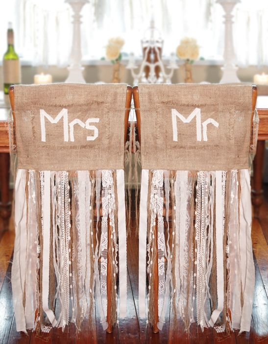 Burlap and lace wedding ideas - Mr.& Mrs.on burlap with floor length ribbons
