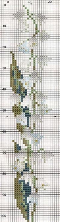 Stylized Convallaria majalis (Lily of the Valley) cross stitch pattern