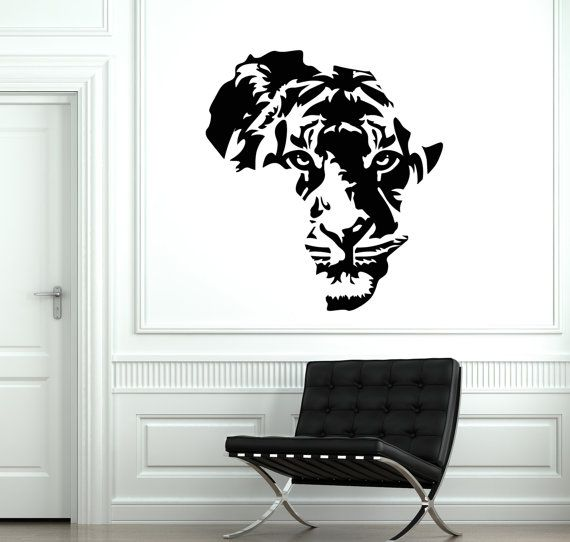 Wall Vinyl Decal Africa Tiger Animal Predator African by BoldArtsy