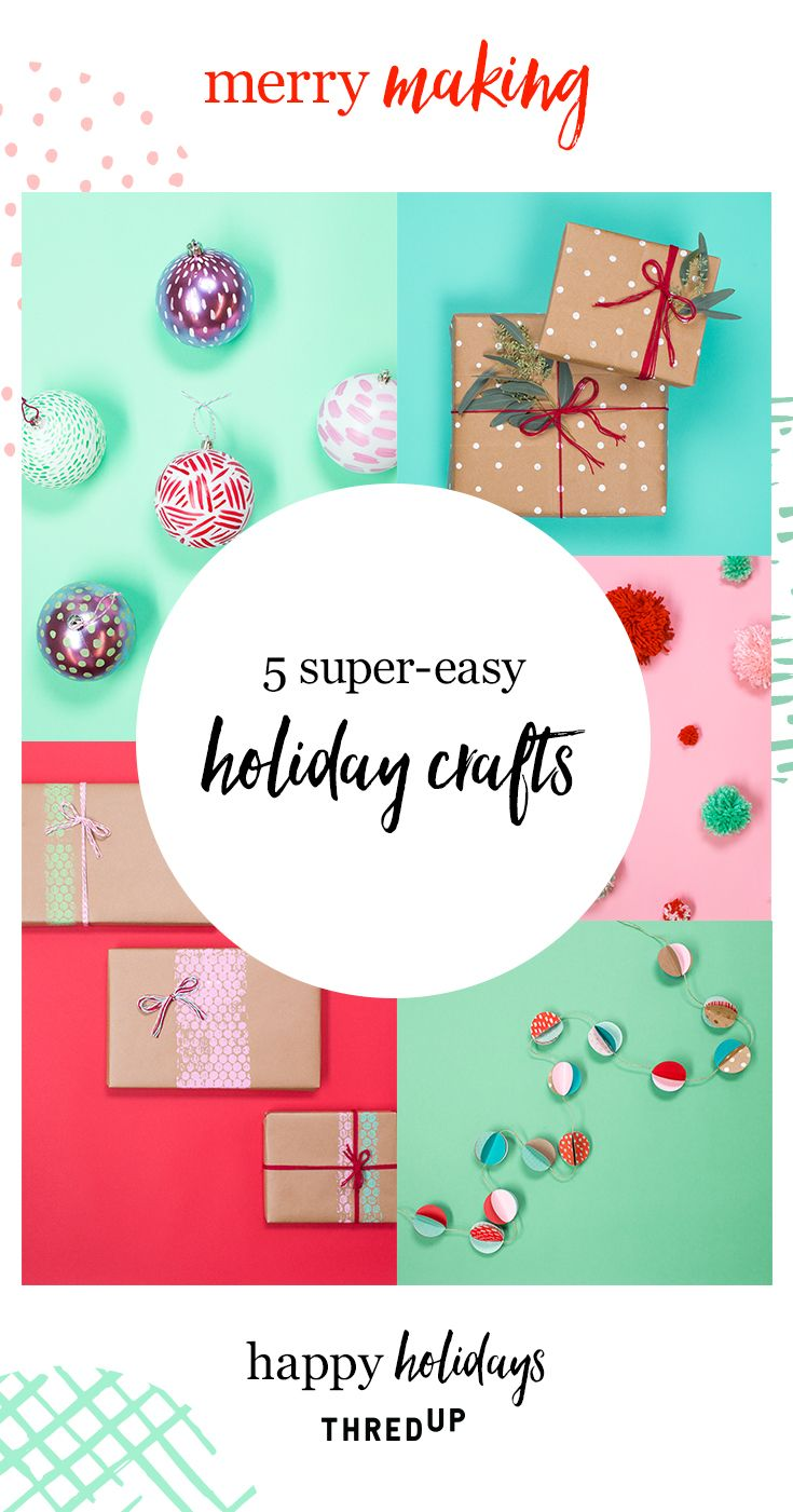 5 super-easy holiday crafts?! Yes, PLEASE! So much fun to make with the whole family, plus these 5 ideas are budget and planet friendly, too. Pom poms, polkadot wrapping paper, renewed ornaments - this holiday season just might be the best yet.