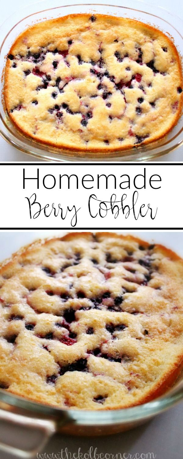 An easy 4 ingredient berry cobbler, perfect for summer cook outs