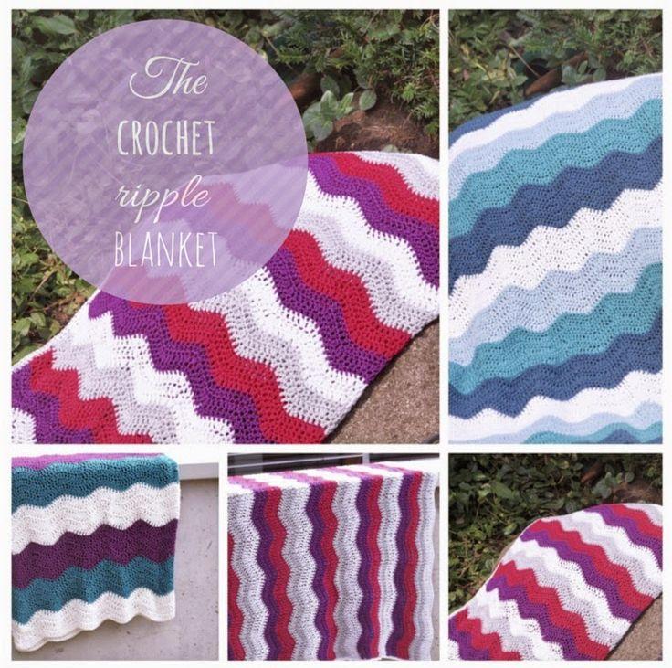 Anleitung für eine Häkeldecke mit Wellenmuster, Tutorial Crochet Ripple Blanket