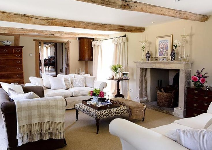English Country Style Furniture Part - 33: Image Detail For -english-european-farmhouse-decorating-ideas-home-decor- Country .LOVE ATHIS LOOK- White Sofas, Antiques, Beams, Ottoman