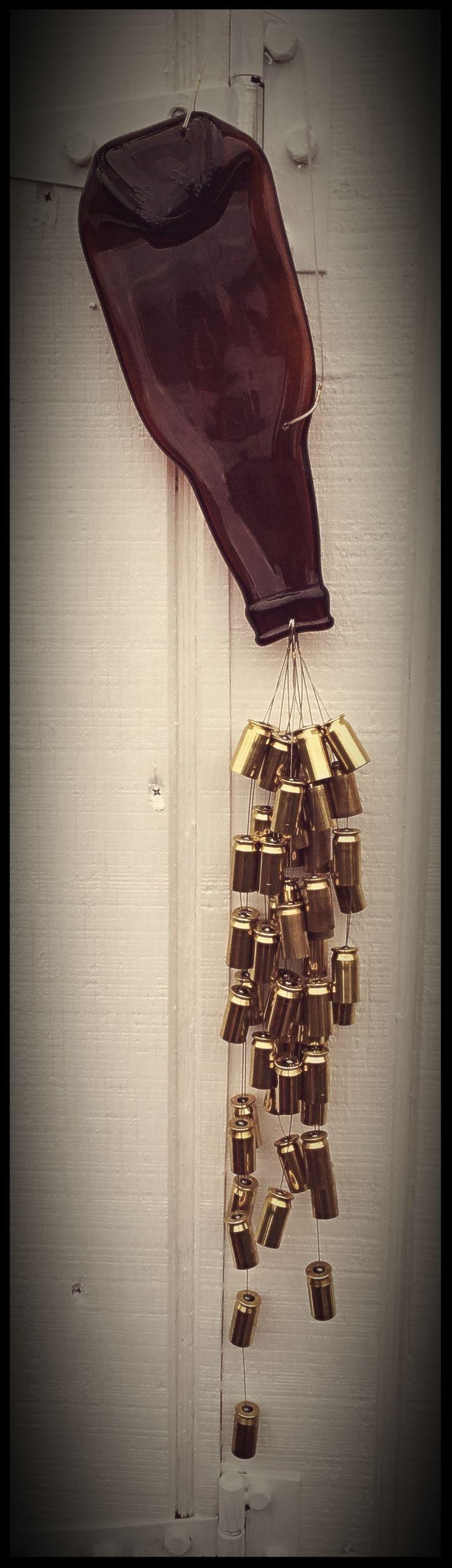 Redneck chic! Flattened upcycled old Falstaff beer bottle & bullet shell casings windchime...Julie's Junktique (Etsy.com) at Candle Shed Effect