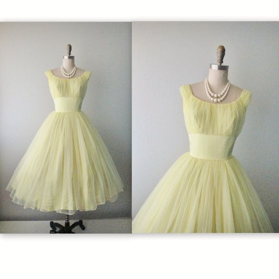 50s Prom Dress // Vintage 1950s Lemon by TheVintageStudio, $136.00