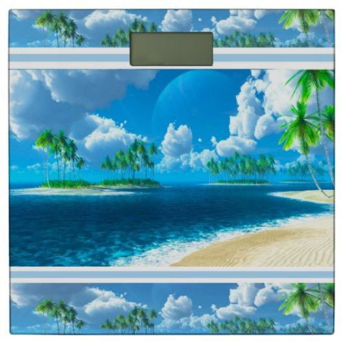 Bathroom Scale/Tropical Beach with Palm Trees Bathroom Scale