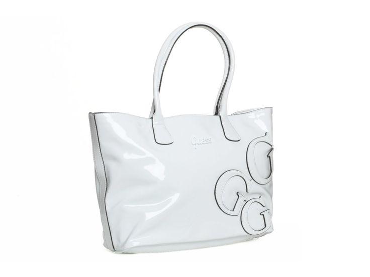 Dámská bílá kabelka GUESS, lesklá - 100061980 | obujsi.cz - dámská, pánská, dětská obuv a boty online, kabelky, módní doplňky