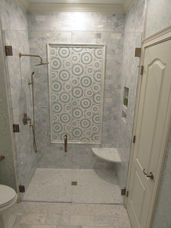 Asian Statuary Marble And Accent Panel W Custom Made Glass Tile Design Bathroom Renovation Bathroom Design