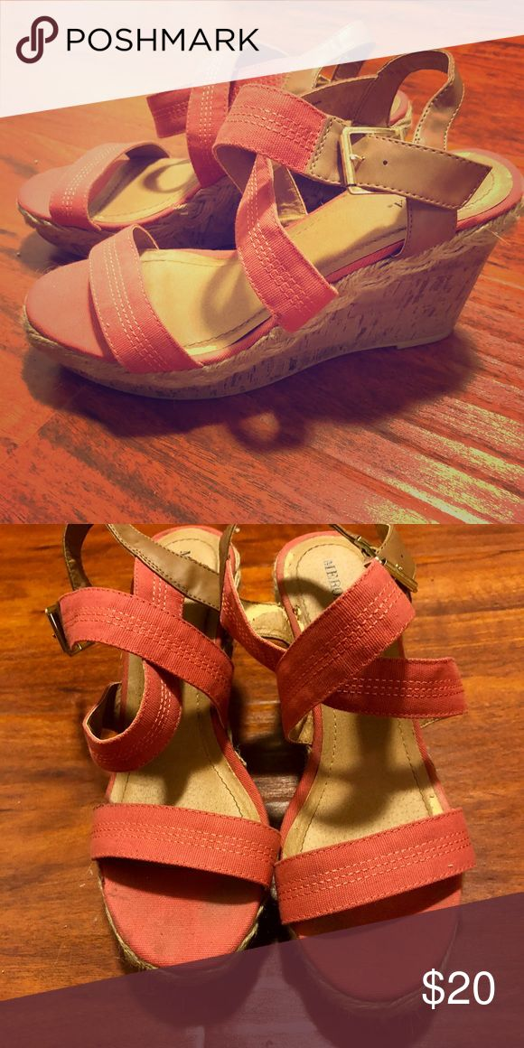 Wedges - Coral Worn once. Coral wedges Shoes Wedges