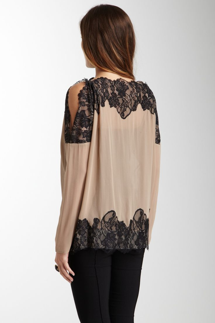 Laceed SHoulder Peek Blouse, Gold Hawk