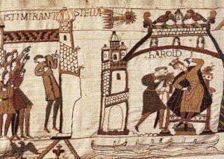 La tapisserie de Bayeux: la comète Halley en 1066.