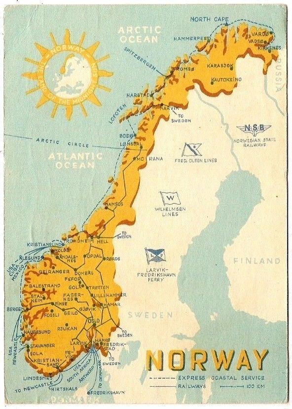 Map of Norway Postcard 1955 | eBay